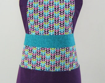 Colorful Modern Apron. Turquoise & purple accent fabric. Cotton Apron. Women's Apron