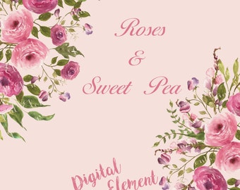 Watercolor floral Clipart, Digital Shabby Rose Clipart, Digital Sweet Pea Clipart, Scrapbook Digital Clipart, Vintage Flowers. No. WC29