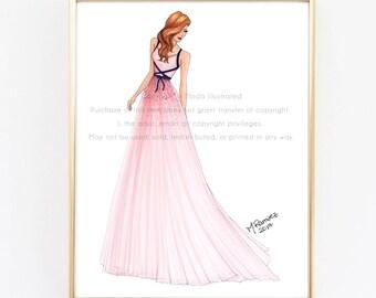 Fashion Illustration, Fashion Illustration Print, Pink Art, Girly Illustration Print, Chic Art, Fashionista, Fashion Art Print, Girl Art