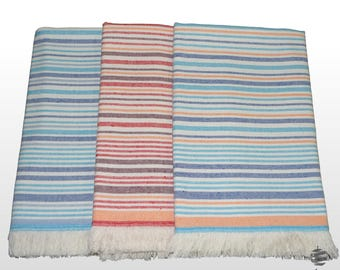 Set of 3 Striped Fouta Beach Towels