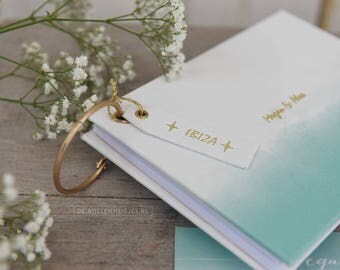Guest book - mint watercolor - marriage advice - alternative guest book - personalized with letterpress - wedding