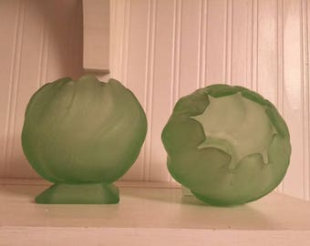 Mint Green Frosted Glass Rose Peony Vases