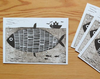 "Postcard set of 4 ""fish"""