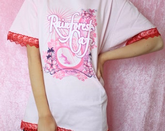 Reworked Vintage Oversized Pink Custom Lace Reworked T-Shirt