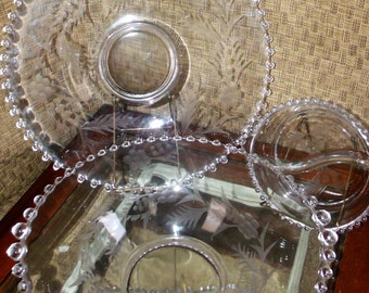 Etched Elegant Imperial Candlewick Glass Serving Lot of 3 ~ Cornflower Pattern ~ Platter - Flared Bowl - Divided Bowl ~
