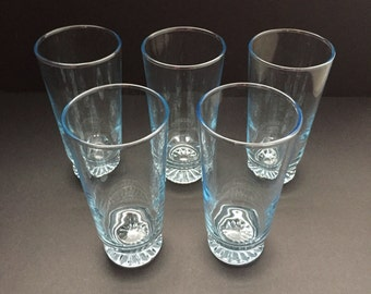 Vintage Blue Tint Drinking Glasses - 9 ounce Tumblers