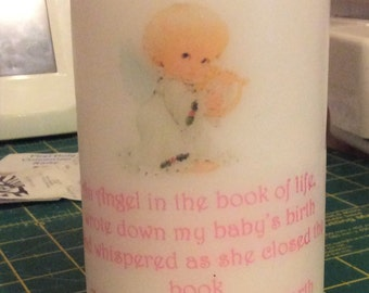 Personalised Angel Baby Remembrance Pillar Candle Made To Order