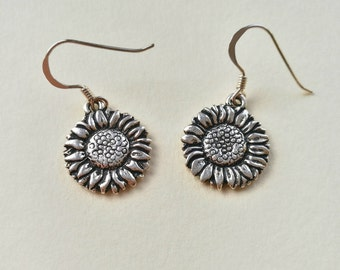 Sunflower Earrings, Sterling Silver, Dangle Earrings, Drop Earrings, Silver Earrings