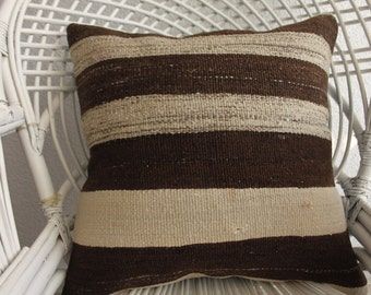 brown and cream striped pillow floor cushion 20x20 hippie pillow vintage covered pillows big floor pillow boho throw pillow kilim pillow 818