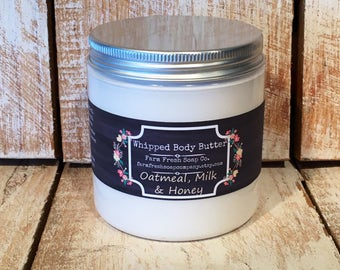 Natural Whipped Body Butter, Oatmeal Milk & Honey, Whipped Shea Butter, Avocado Butter, Bedtime Lotion, Oatmeal Lotion, Handmade Spa Gift