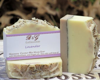 Lavender Essential oil Cold Process soap, Handmade Vegan Soap with coconut milk, All Natural Soap, Oat Extract, Gift idea, Mother's day gift