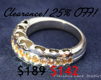 CLEARANCE 25% OFF! Unique Heart Silver Ring  and Orange Sapphires, Sapphires Silver Ring,Unique Ring, US Size 6, Anniversary gift
