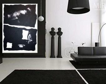 abstrakt xxl schwarz wei perlmutt contemporary art handgemalt. Black Bedroom Furniture Sets. Home Design Ideas