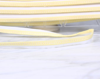 5 m Ribbon/piping, 12mm, acrylic, cotton, yellow and white, (5031)