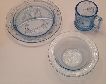 Tiara Blue Nursery Rhyme Childs Dishes set