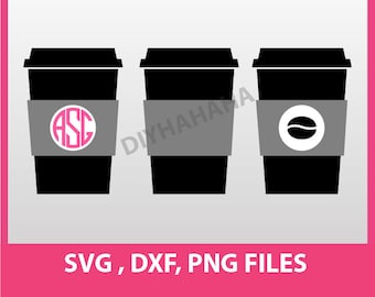 Instant Download, Coffee cup to go, cutting file,  SVG, DXF, PNG Formats 0020