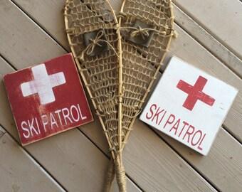 """Ski Patrol 8"""" x 8"""" Mini wood sign"""
