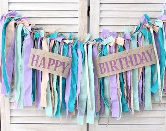 Happy Birthday Fabric Banner, handmade birthday decorations reusable, purple teal birthday banner, unique birthday party decorations