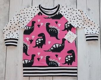 girl dinosaur shirt,toddler dinosaur top,kids organic cotton, Pink Dinosaur top, kids pink dinosaur,baby pink dinosaur,girls dinosaur shirt
