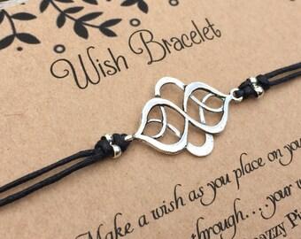 Knot Wish Bracelet, Make a Wish Bracelet, Knot Bracelet, Wish Bracelet, Friendship Bracelet, Minimalist Jewelry, Cord Bracelet, Gift for Her