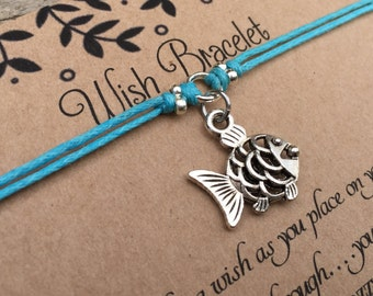 Fish Wish Bracelet, Make a Wish Bracelet, Fish Bracelet, Wish Bracelet, Friendship Bracelet, Surf Jewelry, Marine Bracelet, Gift for Her