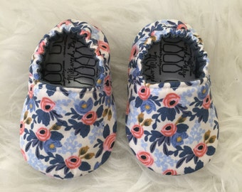 Baby Moccs: Rifle Paper Co Periwinkle and Pink Floral Soft Sole Baby Toddler Shoes