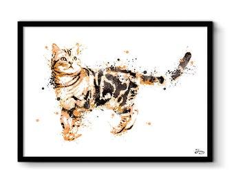 Cat illustration, cat, cat poster animal art print, poster, animals, home decor, birthday gift, wedding gift