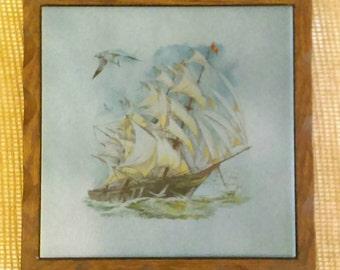Vintage Tile Trivet with Wood Frame-Massed Ship,Clippership Porcelain Decorative Kitchen Decor or Wall Decor Tile Trivet Nautical Decor