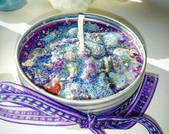 Fizzy Pop and Candy Scented Soy Candle - Soy Candle Tin - 4 oz. Soy Tin Candle - Metaphysical Candle - Altar Tealight Candle Tin - Embedded