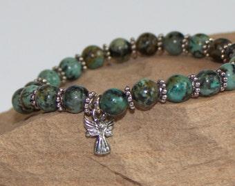 African Turquoise bracelt, angel jewelry, womens bracelet, mens bracelet, African Turquoise jewelry