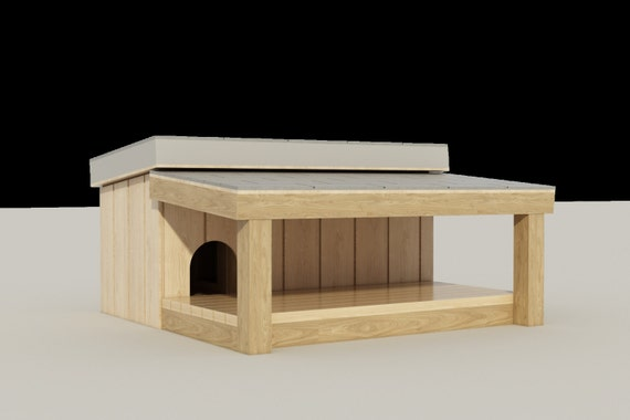Plans to build a medium sized dog house with a covered porch Medium sized home plans