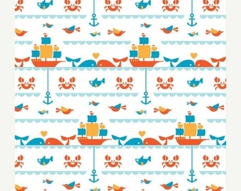 1 yard, Wholesale price, Seafaring, Marine Too Collection, Birch Fabrics, 100% certified organic cotton, 1 yard