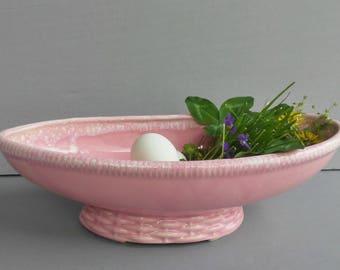Vintage Pink Oblong Ceramic Planter with Basket-Weave Foot