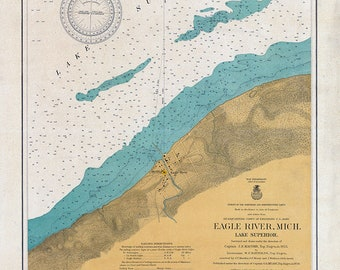 1904 Nautical Map of Lake Superior Showing Eagle River