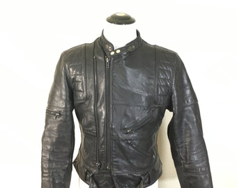80's motorcycle leather jacket black mens size 42