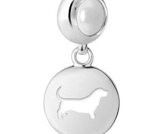 Basset Hound Dog Charm | Basset Hound Silhouette Charm | Fits All European Style Bracelets | Basset Hound Jewelry