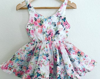 Babygirl toddler white fuscia tropical floral print dress romper low back neck short poofy ruffle skirt attached bloomers