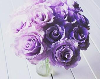 Purple Light Bridal Wedding Bouquet Crepe Paper Flowers Roses