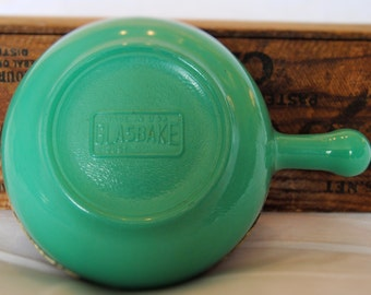 Vintage Teal Glasbake Casserole Dish with Handle