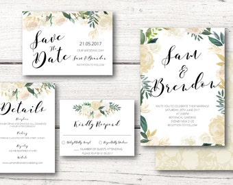 Printable Wedding Invitation - White Aubrey Floral Wreath - Mint, Peach, Gold, Glitter - DIY - DESIGN 109