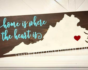 Virginia Home Decor, Home Is Where The Heart Is, Rustic Home Decor, Virginia Wood Sign, Gift Idea, Wood Sign, Home Decor, State Home Decor