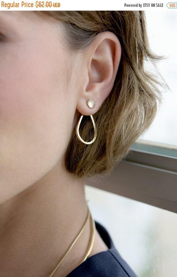 WINTER SALE- Rainbow Moonstone earrings,gold earrings,gold earjackets,front and back earrings,moonstone earjackets,teardrop earrings