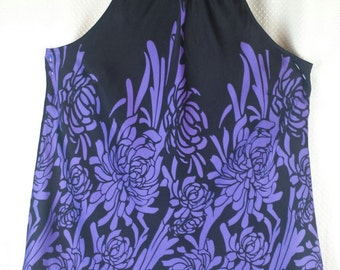 Sleeveless, cut in reglan, SILK top in purple and black with a floral design, chrysanthemum, LARGE UK size 16-18