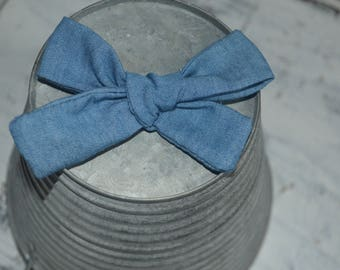 Blue Denim Chambray Fabric Tied Knot Bow