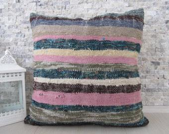 turkey kilim pillow striped kilim pillow 24 x 24 handmade pillow decorative pillow sofa pillow tribal pillow organic pillow throw pillow