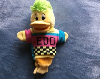 Vintage Edd the duck puppet with squeaker and original jumper