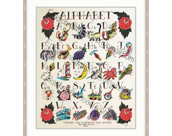 "Watercolor Alphabet Print 22"" x 28"". ABC Poster For A Nursery, Classroom, Childs Bedroom, Home Décor, Tattoo Flash Style For Kids"