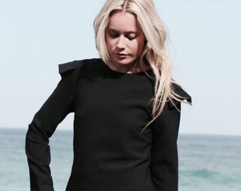 CADET TOP | Women's Fitted Top. Long Sleeve Blouse. Shoulder detail. White Shirt. Black Shirt. Work Top.