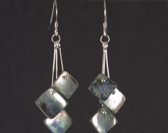 Sterling Silver and Abalone Shell Drop Earrings