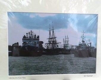 "Great Yarmouth Harbour, Tall Ships, Maritime, Norfolk, Signed Limited Edition A4 Landscape Color Photograph, 40cm x 30cm (16"" x 12"") Mount"